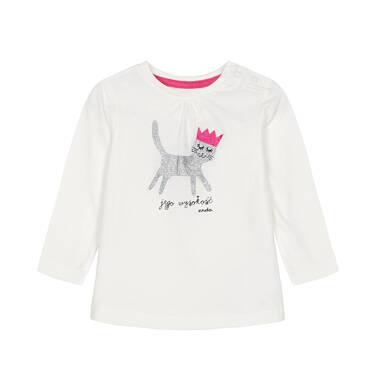 Bluzka z długim rękawem dla dziecka do 3 lat, jego wysokość, złamana biel N92G036_1