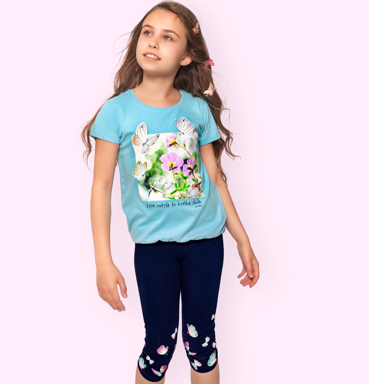 Endo - Legginsy 3/4 dla dziewczynki, w kolorowe motylki, granatowe, 9-13 lat D06K049_1