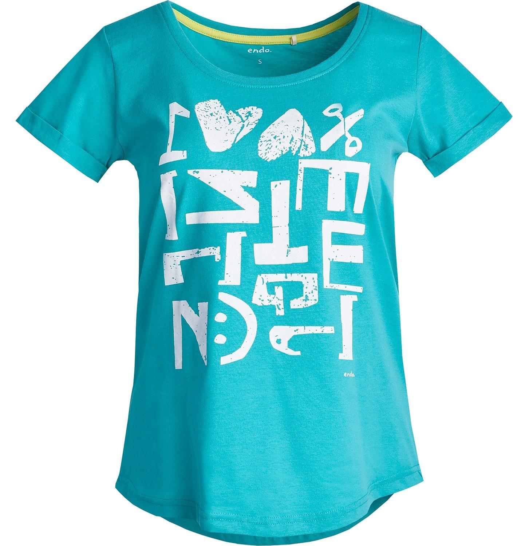 Endo - Lekko taliowana bluzka damska z krótkim rękawem Y81G013_1