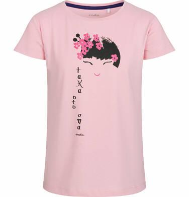 Bluzka z krótkim rękawem dla dziewczynki, z japońskim motywem, różowa, 2-8 lat D03G003_1