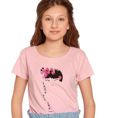 Endo - Bluzka z krótkim rękawem dla dziewczynki, z japońskim motywem, różowa, 2-8 lat D03G003_1