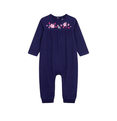 Endo - Pajac dla dziecka do 2 lat, deseń w kwiaty, granatowy N03N003_1