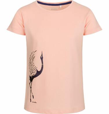 Endo - Bluzka z krótkim rękawem dla dziewczynki, z żurawiem, brzoskwiniowa, 2-8 lat D03G006_1