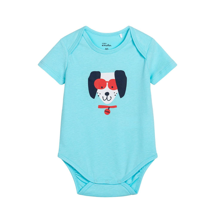 Endo - Body z krótkim rękawem dla dziecka do 2 lat, z pieskiem w okularach N05M031_1