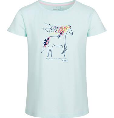 Endo - Bluzka z krótkim rękawem dla dziewczynki, z koniem, zielona, 2-8 lat D03G034_1