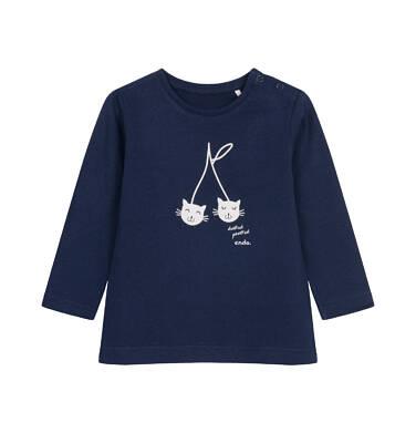 Bluzka z długim rękawem dla dziecka do 2 lat, z kotami N04G025_1