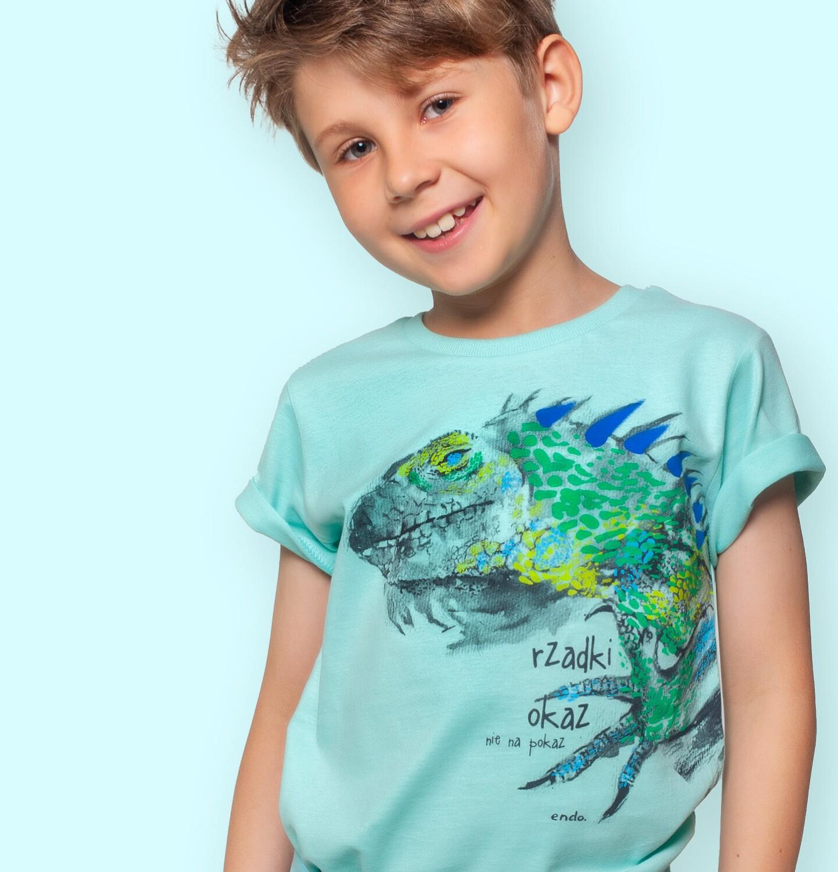 Endo - T-shirt z krótkim rękawem dla chłopca, z legwanem, niebieski, 2-8 lat C06G109_1