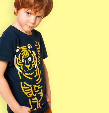 Endo - T-shirt z krótkim rękawem dla chłopca, z tygrysem, granatowy, 2-8 lat C05G078_2 29
