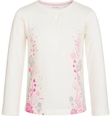 Endo - Bluzka z długim rękawem dla dziewczynki, z marszczeniem przy dekolcie, złamana biel, 3-8 lat D92G100_1 1