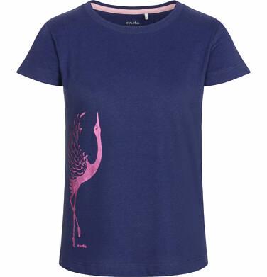Endo - Bluzka z krótkim rękawem dla dziewczynki, z żurawiem, granatowa, 9-13 lat D03G506_2