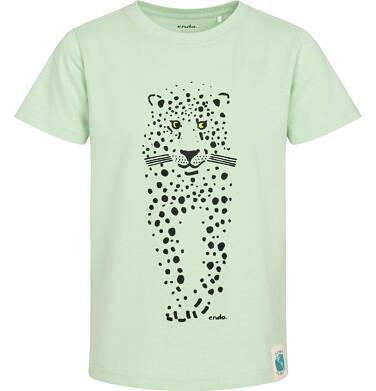 Endo - T-shirt z krótkim rękawem dla chłopca, z panterą, zielony, 2-8 lat C05G079_1 191