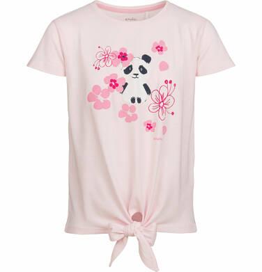 Bluzka z krótkim rękawem dla dziewczynki, z pandą w kwiatach, różowa, 2-8 lat D03G007_1