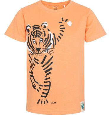 Endo - T-shirt z krótkim rękawem dla chłopca, z tygrysem, pomarańczowy, 9-13 lat C05G154_1 130