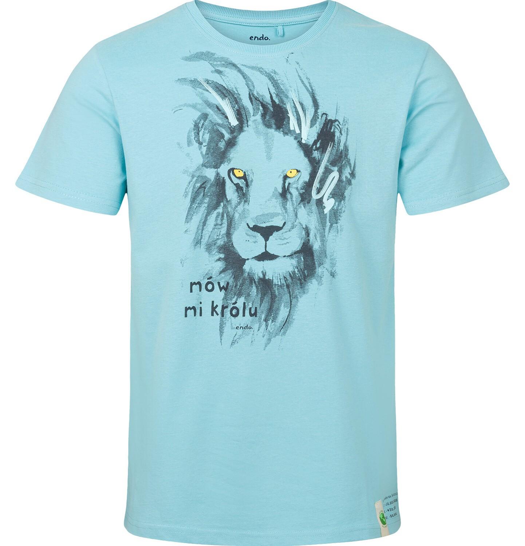 Endo - T-shirt męski z krótkim rękawem, z lwem, niebieski Q03G005_1
