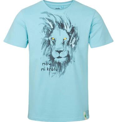 T-shirt męski z krótkim rękawem, z lwem, niebieski Q03G005_1
