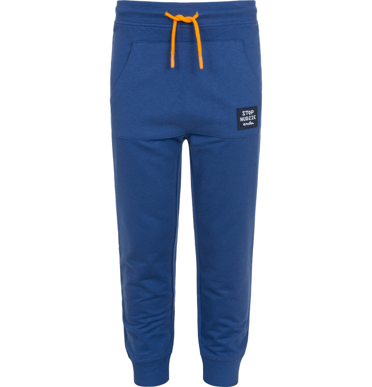 Endo - Spodnie dresowe dla chłopca, z kieszenią kangur i naszywką, niebieskie, 9-13 lat C05K015_1