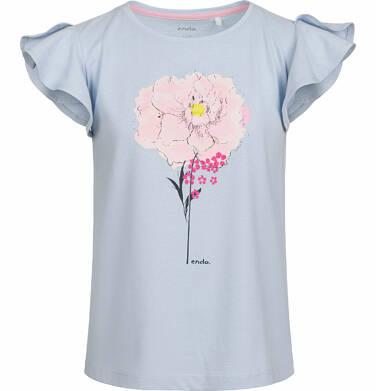 Bluzka z krótkim rękawem dla dziewczynki, z kwiatem i falbanką na rękawie, niebieska, 9-13 lat D03G508_1