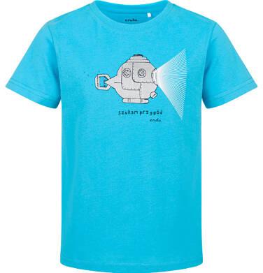 Endo - T-shirt z krótkim rękawem dla chłopca, z łodzią podwodną, niebieski, 9-13 lat C03G621_1