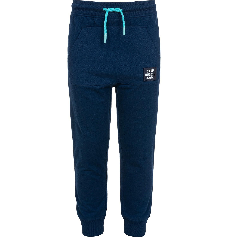 Endo - Spodnie dresowe dla chłopca, z kieszenią kangur i naszywką, granatowe, 9-13 lat C05K015_2