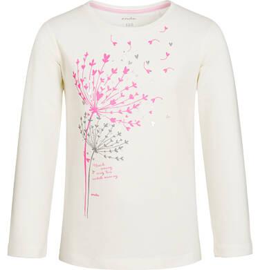 Endo - Bluzka z długim rękawem dla dziewczynki, z dmuchawcem, złamana biel, 3-8 lat D92G095_1