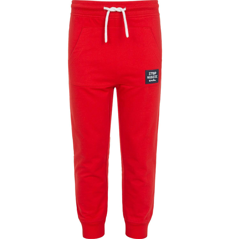 Endo - Spodnie dresowe dla chłopca, z kieszenią kangur i naszywką, czerwone, 9-13 lat C05K015_3