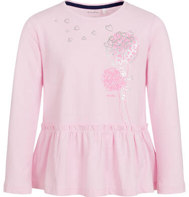 Bluzka z długim rękawem dla dziewczynki, z falbanką, różowa, 3-8 lat D92G094_1