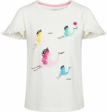 Bluzka z krótkim rękawem dla dziewczynki, w żurawie, porcelanowa, 9-13 lat D03G509_1