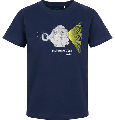 Endo - T-shirt z krótkim rękawem dla chłopca, z łodzią podwodną, granatowy, 9-13 lat C03G621_2