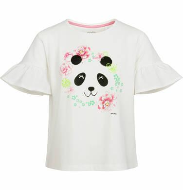 Bluzka z krótkim rękawem dla dziewczynki, z pandą w kwiatach, porcelanowa, 2-8 lat D03G010_1