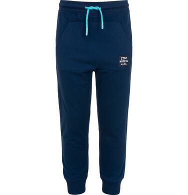 Spodnie dresowe dla chłopca, z kieszenią kangur i naszywką, niebieskie, 2-8 lat C05K022_2
