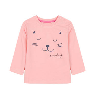 Endo - Bluzka z długim rękawem dla dziecka do 3 lat, przytulasek, kremowo-różowa N92G010_1