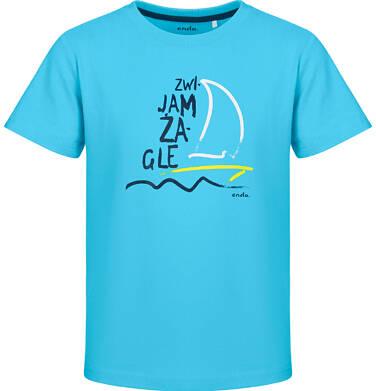 Endo - T-shirt z krótkim rękawem dla chłopca, z żaglówką, niebieski, 2-8 lat C03G124_1 20