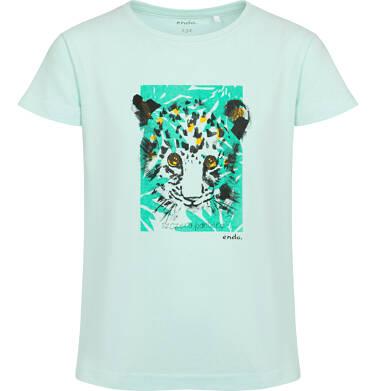 Endo - T-shirt z krótkim rękawem dla dziewczynki, z małym gepardem, zielony, 9-13 lat D05G109_1 33