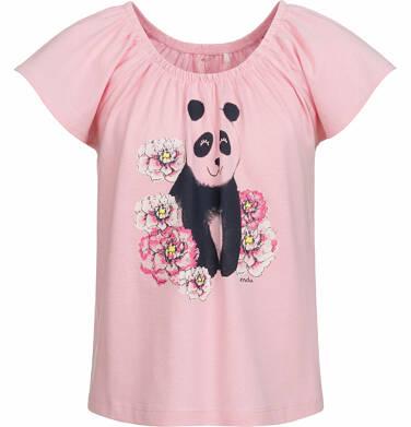 Endo - Bluzka z krótkim rękawem dla dziewczynki, panda w kwiatach, różowa, 9-13 lat D03G512_1