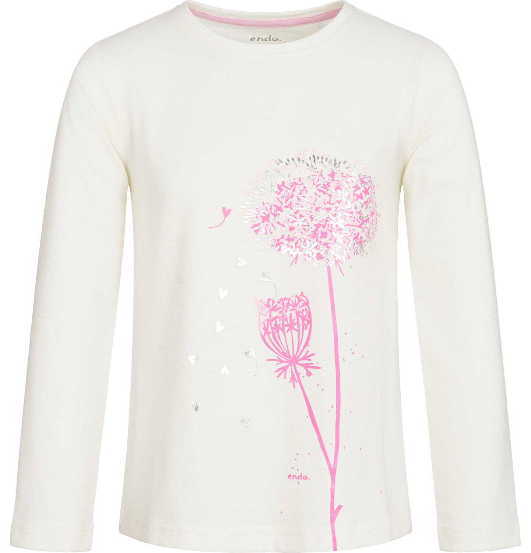 Endo - Bluzka z długim rękawem dla dziewczynki, złamana biel, 9-13 lat D92G598_1