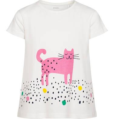 Endo - T-shirt z krótkim rękawem dla dziewczynki, z różowym kotem, kremowy w kropki, 2-8 lat D06G149_1 7