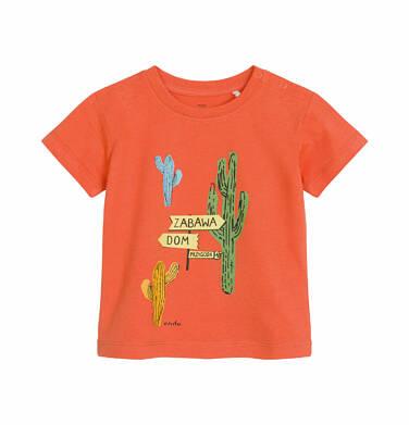 Endo - T-shirt z krótkim rękawem dla dziecka do 2 lat, z kaktusem, pomarańczowy N03G008_1 36