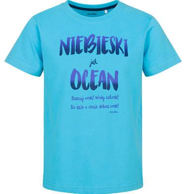 Endo - T-shirt z krótkim rękawem dla chłopca, niebieski jak ocean, 2-8 lat C03G127_1