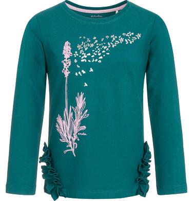 Endo - Bluzka z długim rękawem dla dziewczynki, z falbankami na bokach, butelkowozielona, 9-13 lat D92G596_1