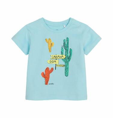Endo - T-shirt z krótkim rękawem dla dziecka do 2 lat, z kaktusem, niebieski N03G008_2 7