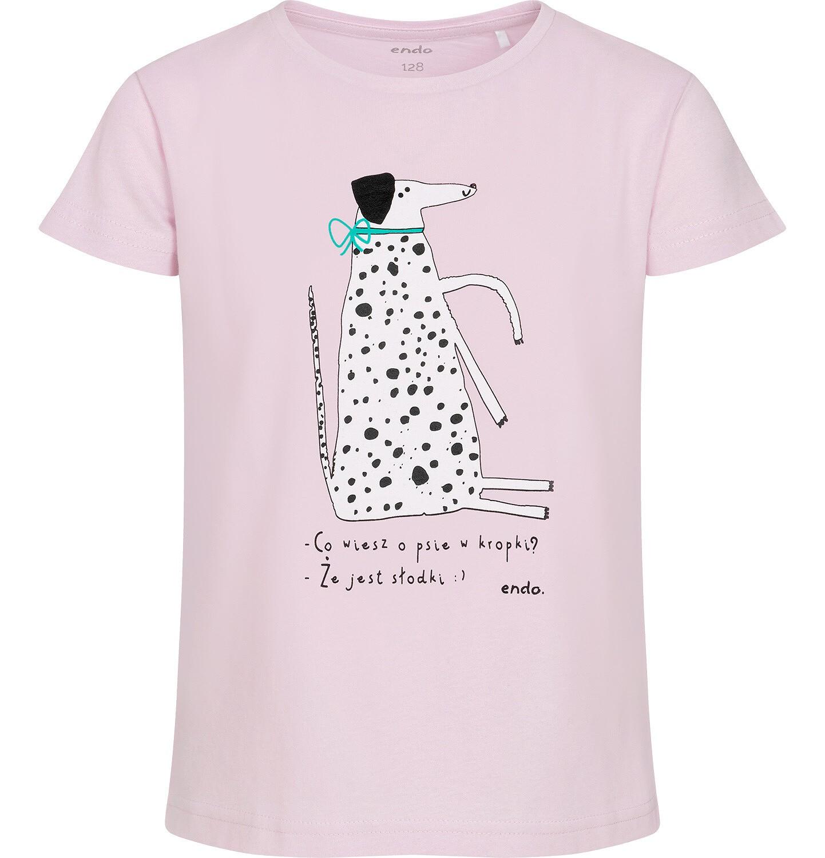 Endo - T-shirt z krótkim rękawem dla dziewczynki, z psem w kropki, różowy, 2-8 lat D06G156_1