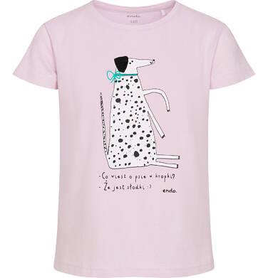 Endo - T-shirt z krótkim rękawem dla dziewczynki, z psem w kropki, różowy, 2-8 lat D06G156_1 4