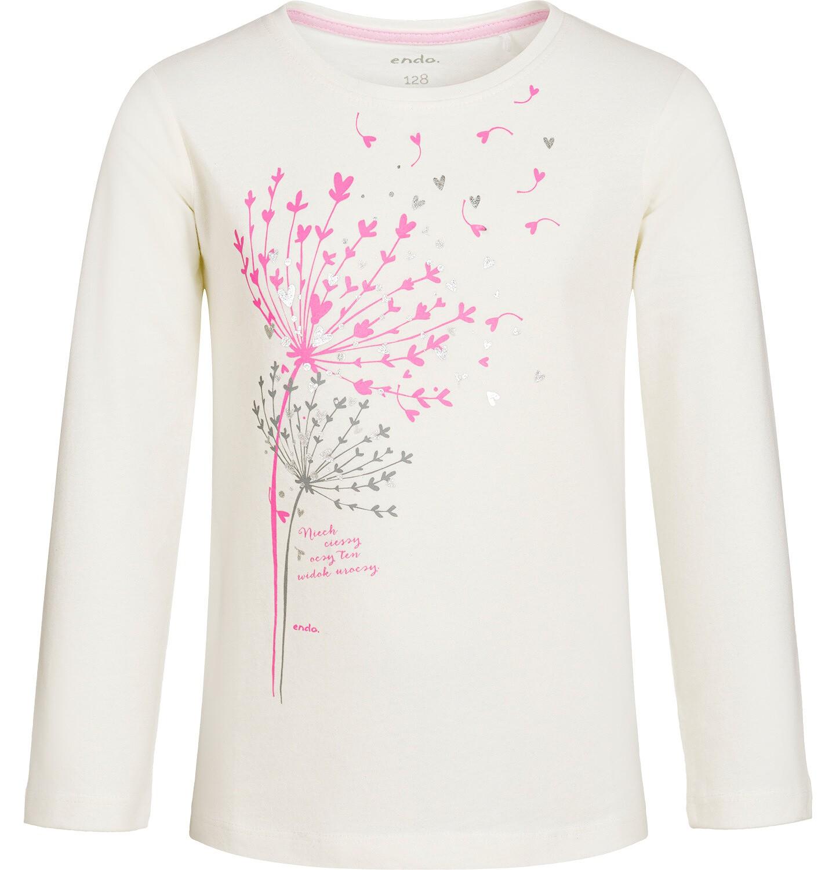 Endo - Bluzka z długim rękawem dla dziewczynki, z dmuchawcem, złamana biel, 9-13 lat D92G595_1