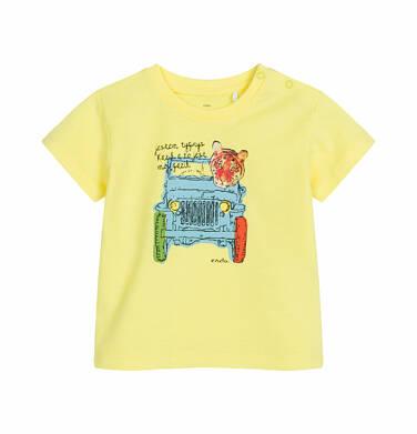 Endo - T-shirt z krótkim rękawem dla dziecka do 2 lat, z tygrysem w aucie, żółty N03G009_1 2