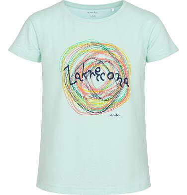 Endo - T-shirt z krótkim rękawem dla dziewczynki, z napisem zakręcona, zielony, 2-8 lat D06G161_1 31