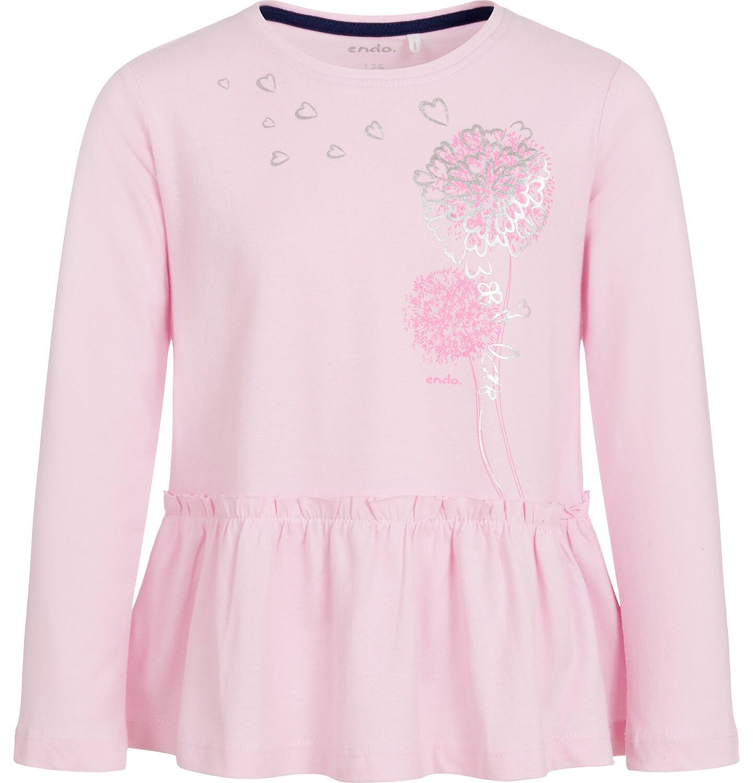 Endo - Bluzka z długim rękawem dla dziewczynki, z falbanką, różowa, 9-13 lat D92G594_1