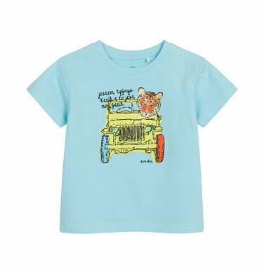 Endo - T-shirt z krótkim rękawem dla dziecka do 2 lat, z tygrysem w aucie, niebieski N03G009_2 6
