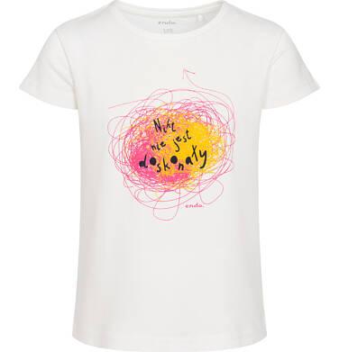 Endo - T-shirt z krótkim rękawem dla dziewczynki, z napisem nikt nie jest doskonały, kremowy, 2-8 lat D06G162_1 29