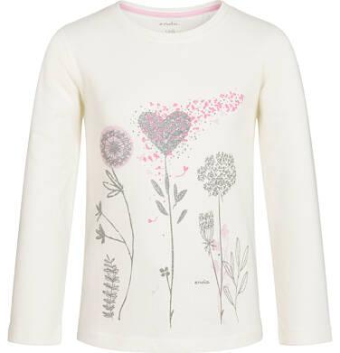 Endo - Bluzka z długim rękawem dla dziewczynki, z dmuchawcami, złamana biel, 9-13 lat D92G593_1
