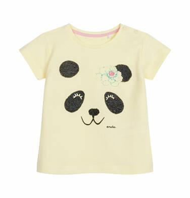 Endo - Bluzka z krótkim rękawem dla dziecka do 2 lat, z pandą, żółta N03G010_1
